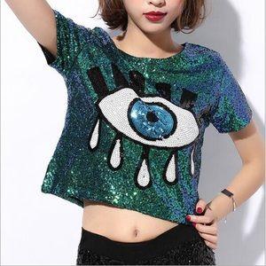 Tops - Green Evil Eye Sparkle Glitter Festival Tee S/M
